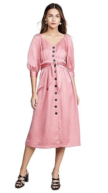 Moon River Raglan Puff Sleeve Dress