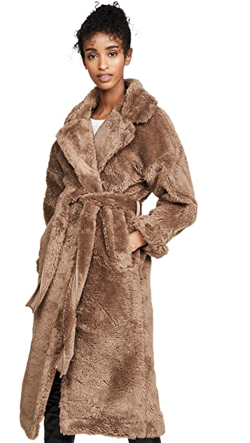 Moon River Tie Waist Faux Fur Jacket