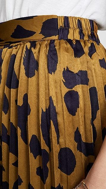 Moon River Pleated Accordion Midi Skirt