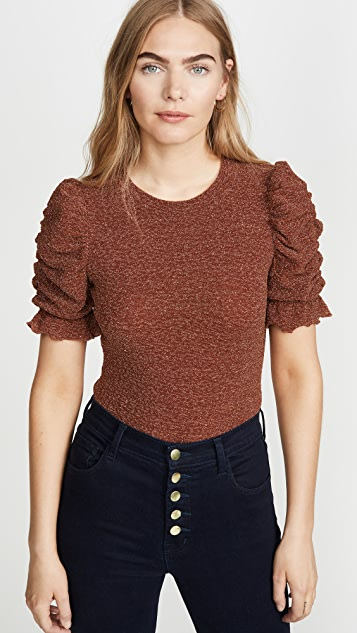 Moon River Sparkly Ruched Sleeve Top