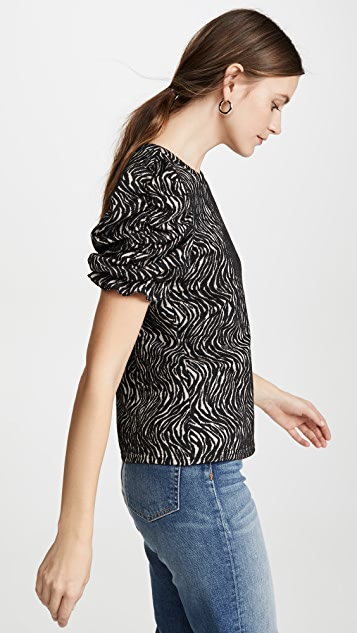 Moon River Zebra Ruched Sleeve Top