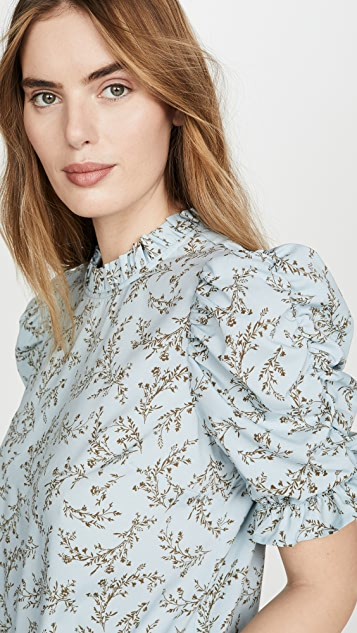 Moon River Ruched Sleeve Top
