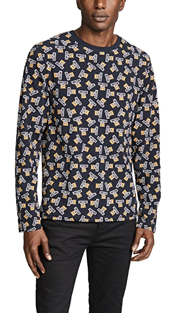 Moschino Stretch Jersey Long Sleeve Bear Tee