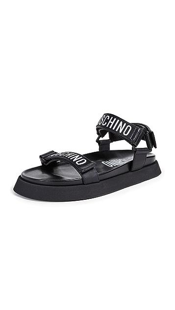 Moschino Logo Velcro Strap Sandals