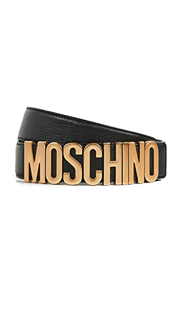 Moschino Gold Logo Buckle Belt