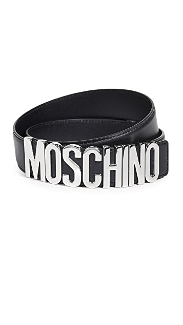 Moschino Silver Logo Buckle Belt