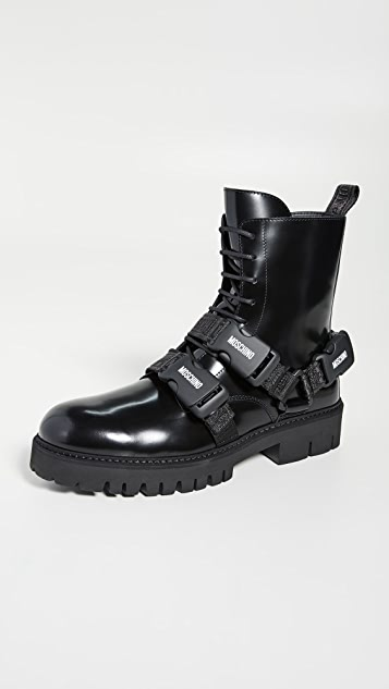 Moschino Harness Strap Ankle Boots