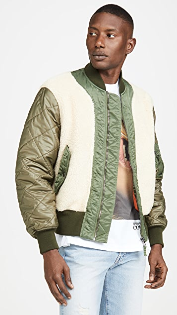 Moschino Shearling Paneled Bomber Jacket