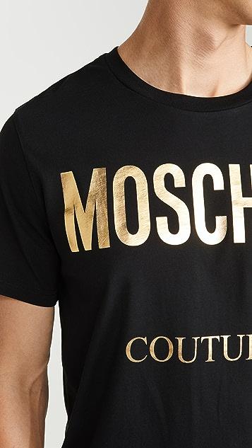 Moschino Gold Foil Logo Tee Shirt