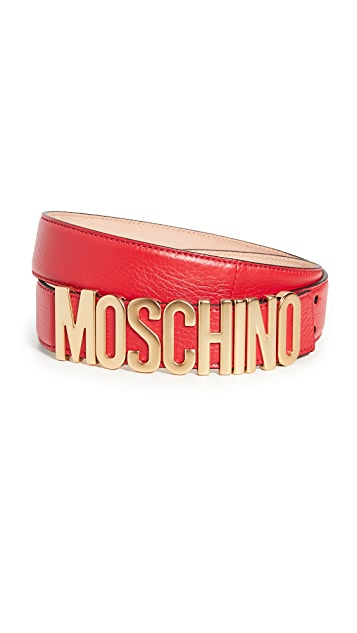 Moschino Gold Logo Buckle Belt