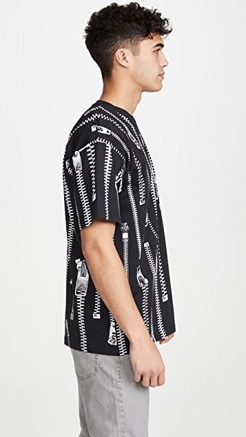 Moschino Zipper Print Short Sleeve Tee