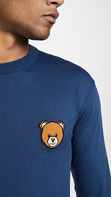 Moschino Small Bear Logo Crew Neck Sweater
