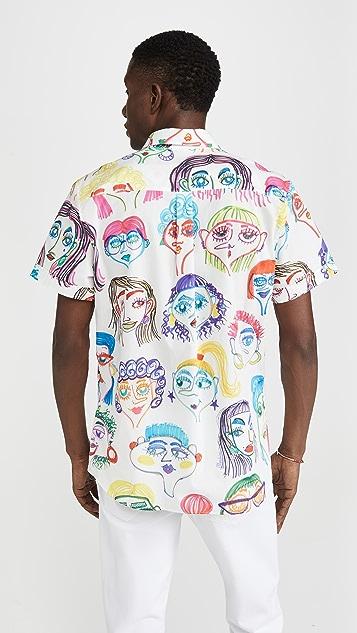 Moschino Allover Faces Print Shirt