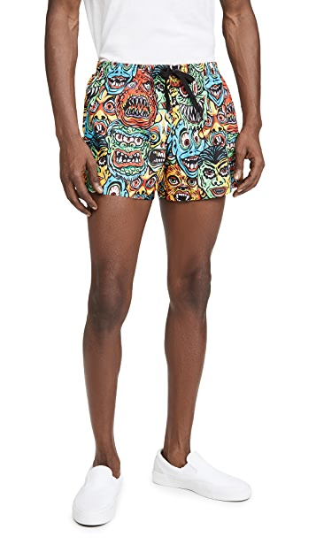 Moschino Allover Monster Print Swim Shorts