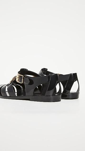 Moschino Black PVC Sandals