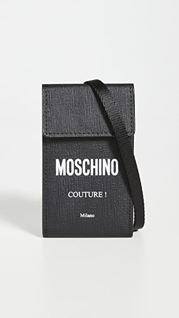Moschino Logo Lanyard Card Case with Flap