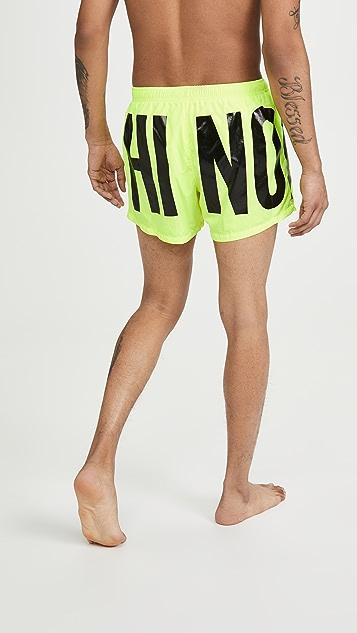 Moschino Moschino Logo Neon Swim Trunks
