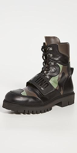 Moschino - Logo Camo High Top Boots