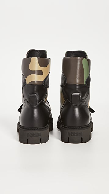 Moschino Logo Camo High Top Boots