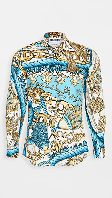 Moschino Baroque Printed Button Down Shirt