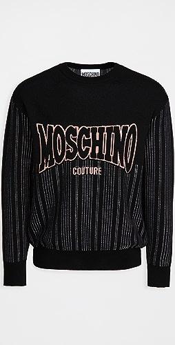 Moschino - Merino Pinstripe Logo Sweater