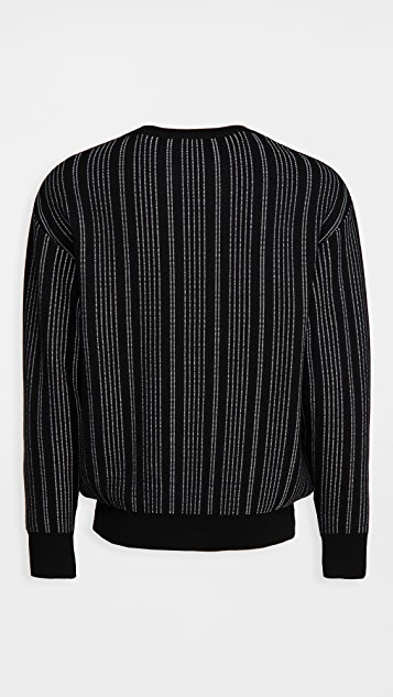 Moschino Merino Pinstripe Logo Sweater