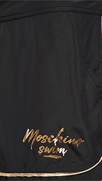 Moschino Melton Gold Logo Swim Suit