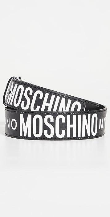 Moschino Moschino Allover Logo Leather Belt