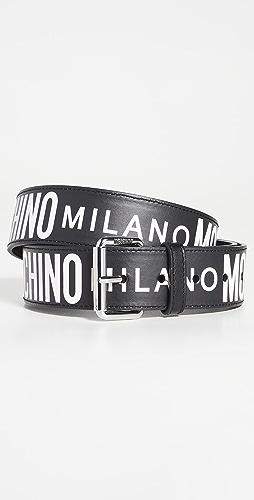 Moschino - Moschino Allover Logo Leather Belt
