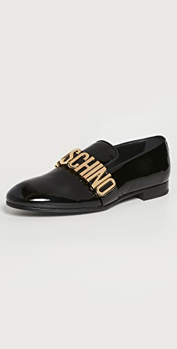 Moschino - Moschino Logo Patent Leather Loafers