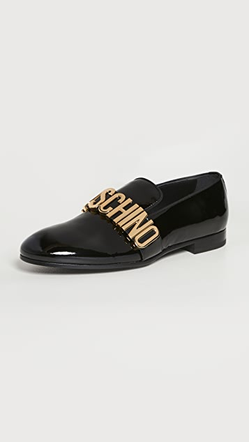 Moschino Moschino Logo Patent Leather Loafers