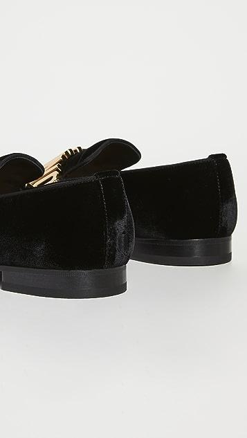 Moschino Moschino Logo Velvet Loafers
