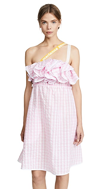 Marianna Senchina Ruffle Seersucker Dress