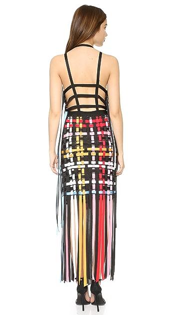 MSGM Трикотажное платье с бахромой