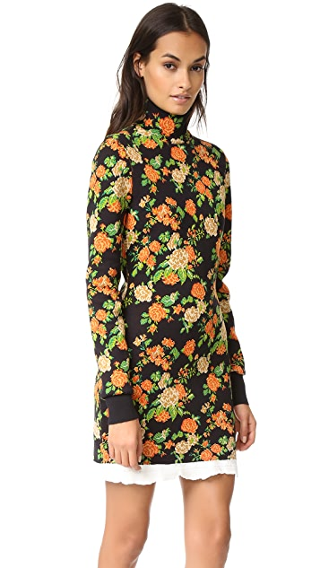 MSGM Floral Mock Neck Sweater Dress