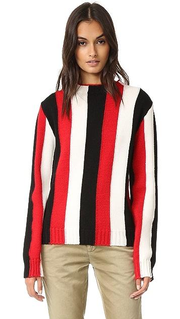 MSGM Vertical Stripe Crew Sweater