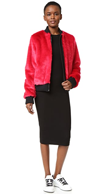MSGM Faux Fur Bomber Jacket