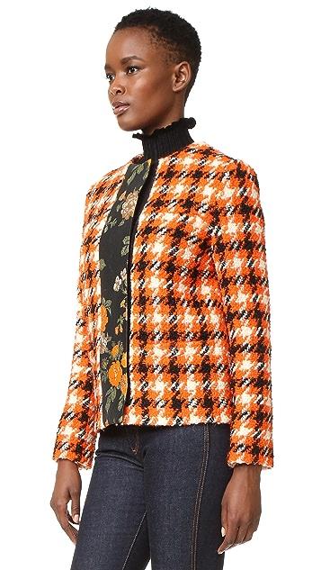 MSGM Plaid Boucle & Floral Jacket