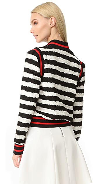 MSGM Striped Tweed Bomber Jacket