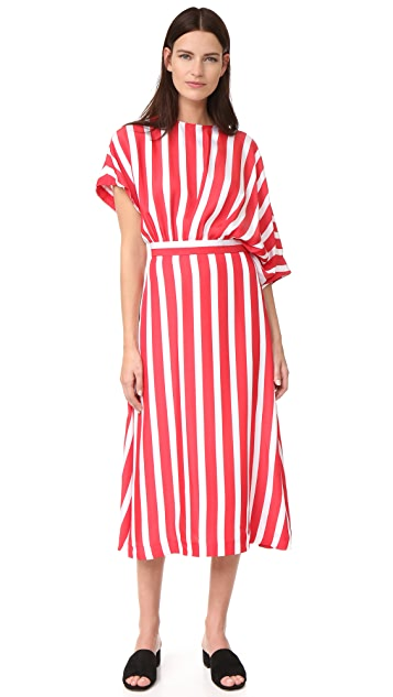 MSGM Striped Asymmetrical Dress