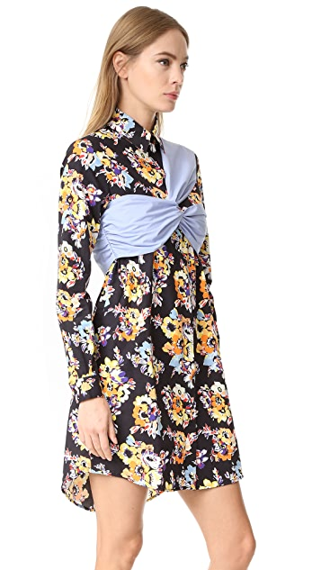 MSGM Floral Printed Dress with Poplin Detail