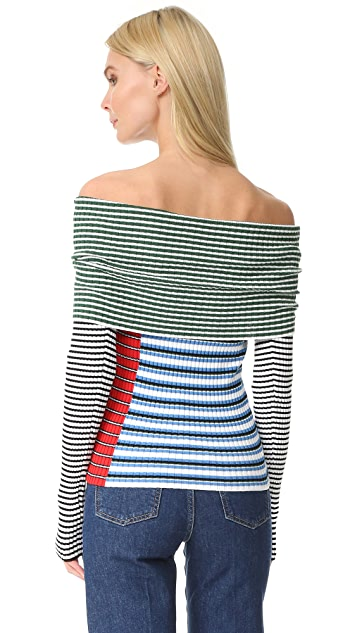 MSGM Off Shoulder Striped Sweater