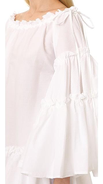MSGM Ruffle Seersucker Dress