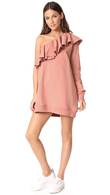MSGM One Shoulder Sweatshirt Dress