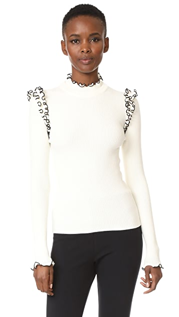 MSGM Ribbed Ruffle Sweater