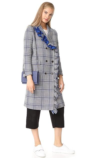 MSGM Пальто с рисунком «гусиная лапка» и оборкой
