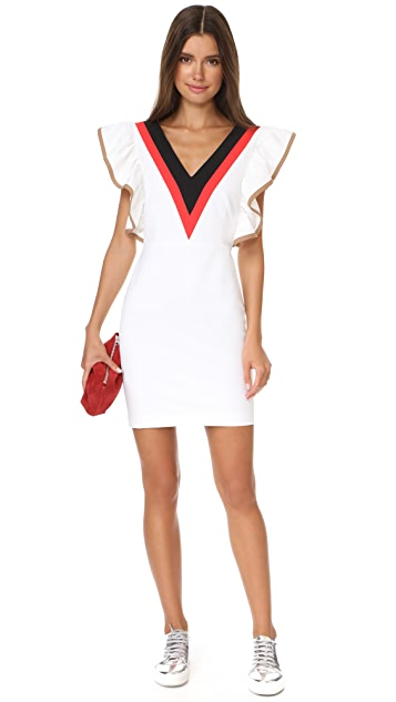 MSGM Ruffle V Neck Dress