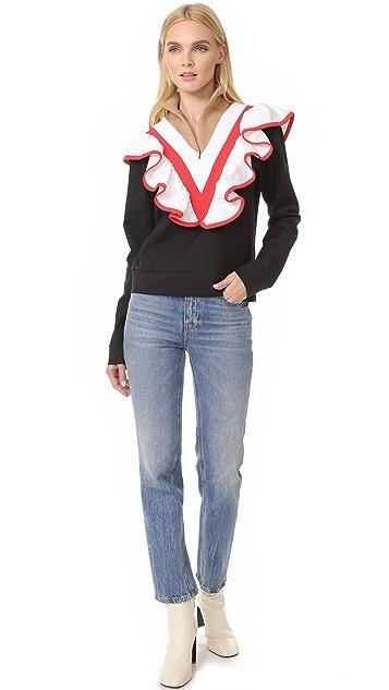 MSGM Half Zip Ruffle Pullover