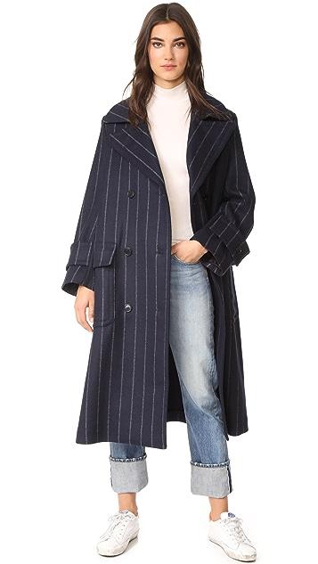 MSGM Pinstripe Wool Coat