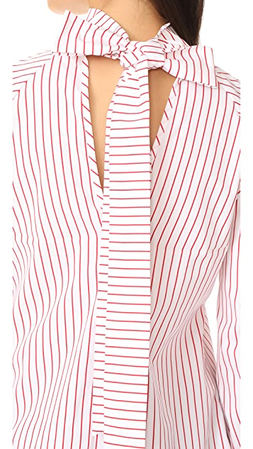 MSGM Poplin Stripe Tie Back Blouse